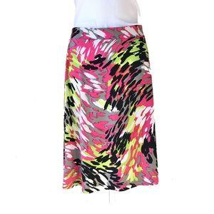 Kasper Animal Brushstroke Midi Skirt